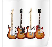 Four Sunburst Guitars Poster