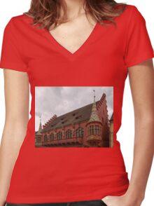 Historic Merchants' Hall, Freiburg Women's Fitted V-Neck T-Shirt