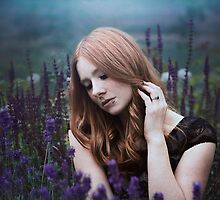 Portrait of a girl with lavendel by Liancary
