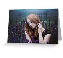 Portrait of a girl with lavendel Greeting Card