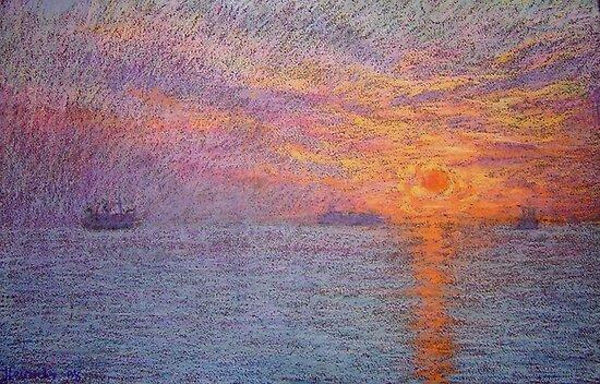 Ocean sunset by Julia Lesnichy