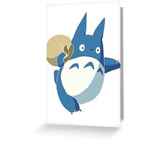 Small Blue Totoro with Swag Bag - No Outline Greeting Card