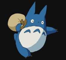 Small Blue Totoro with Swag Bag - No Outline by joshdbb