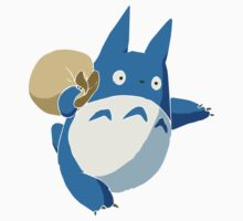 Small Blue Totoro with Swag Bag - No Outline One Piece - Long Sleeve