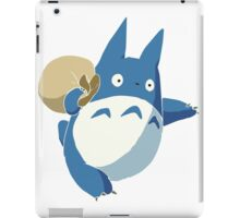 Small Blue Totoro with Swag Bag - No Outline iPad Case/Skin