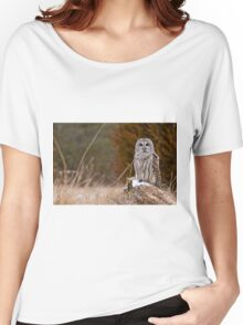 Barred Owl on log Women's Relaxed Fit T-Shirt