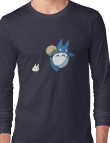 Small White and Blue Totoro with Swag Bag - No Outline Long Sleeve T-Shirt