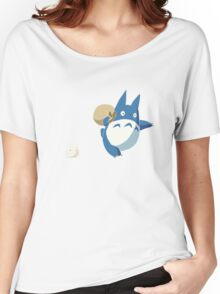 Small White and Blue Totoro with Swag Bag - No Outline Women's Relaxed Fit T-Shirt