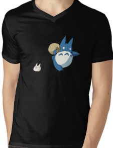 Small White and Blue Totoro with Swag Bag - No Outline Mens V-Neck T-Shirt