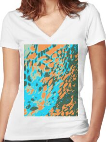 Leopard Pattern Background Women's Fitted V-Neck T-Shirt