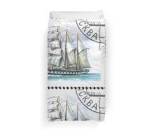 Sailing ships of the Soviet Union stamp series 1981 1981 Баркентина Вега USSR Duvet Cover