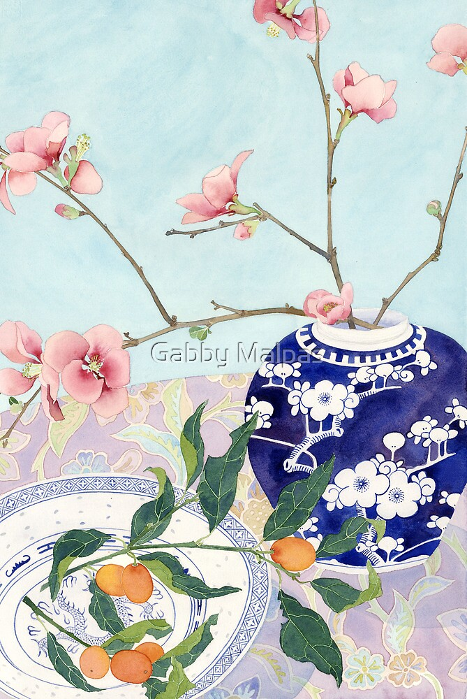 Still life with ginger jar and Japonicas by Gabby Malpas