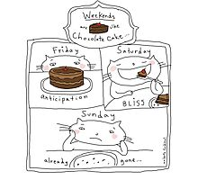 Weekends are like chocolate cake / Cat doodles Photographic Print