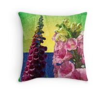 Two Foxglove flowers on texture and frame Throw Pillow