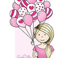 Cutie Pie with Balloons by rachelwhiteart