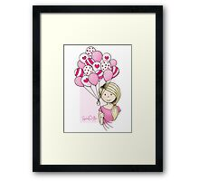 Cutie Pie with Balloons Framed Print