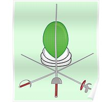 Fencing Shield - Green Poster