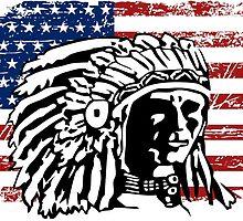 American Indian - USA Flag - Vintage Look by Port-Stevens