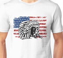 American Indian - USA Flag - Vintage Look Unisex T-Shirt