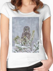 Great Gray Owl Women's Fitted Scoop T-Shirt