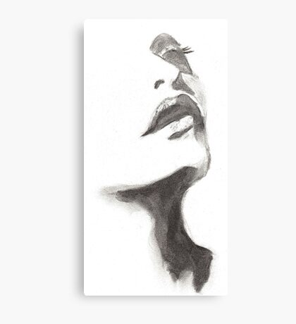 woman face pencil drawing Canvas Print