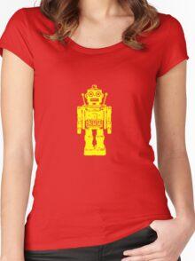 Retro robot geek funny nerd Women's Fitted Scoop T-Shirt