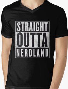 Straight Outta Nerdland Mens V-Neck T-Shirt