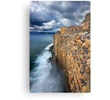 Wave attack against Monemvasia Metal Print