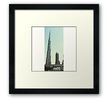 Grey and Sky Blue Burj Khalifa Framed Print