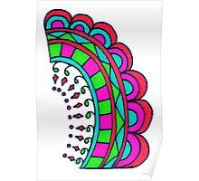 Miami Summer Sunset Neon Colors Mandala Poster