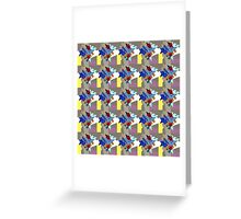 Vibrant Crystal Cluster Blue Burgundy on Yellow Stripe - Jenny Meehan  Greeting Card