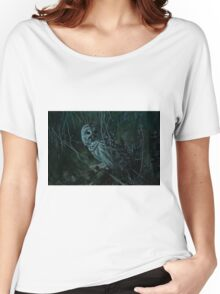 Barred Owl _ Pseudo Night shot Women's Relaxed Fit T-Shirt