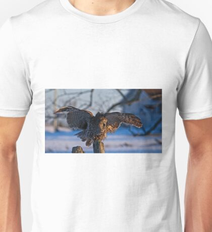 Great Gray Owl on Post - Dunrobin Ontario Unisex T-Shirt