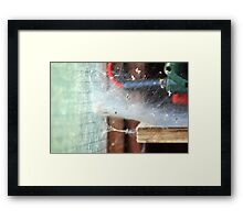 Web in the shed Framed Print