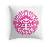 Pink Starbucks Logo Throw Pillow