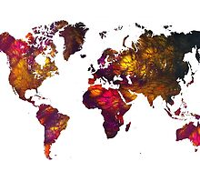 World Map Mountains by JBJart