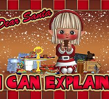 Blushing Elf - Santa I can Explain! Christmas Card by Moonlake