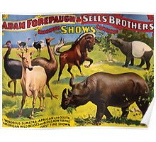 Poster 1890s Wondrous Wild Beasts poster for Forepaugh & Sells Brothers 1896 Poster