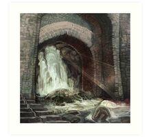 Ancient Temple River Waterfall Art Print