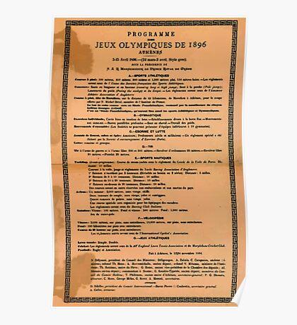 Poster 1890s Programme des Jeux Olimpiques de 1896 Poster