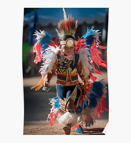 Chumash native American teen dancing Poster