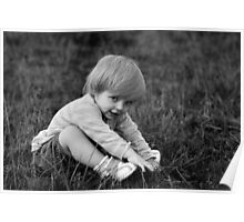 Little Amy on the grass B&W Poster