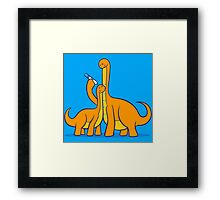 Dinosaur Growth Chart (Orange Dinos) Framed Print