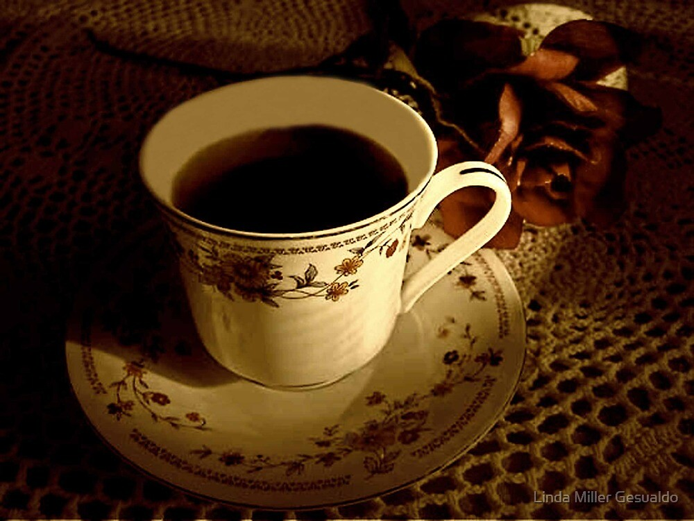 Morning Coffee In Sepia by Linda Miller Gesualdo