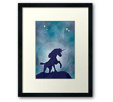 Unicorn silhouetted against a full moon Framed Print