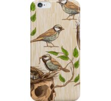 black and white illustration of birds making a nest in animal skull iPhone Case/Skin
