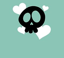 Skull and Hearts on Teal by DeliriumLina