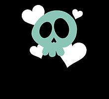 Teal Skull with White Hearts by DeliriumLina