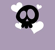 Skull and Hearts on Purple by DeliriumLina