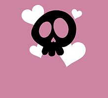 Skull and Hearts on Pink by DeliriumLina